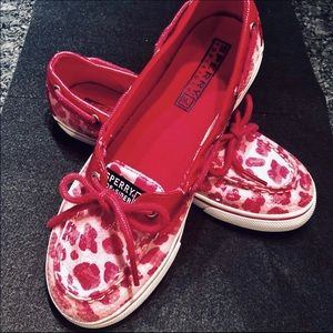 Sperry Shoes - Sperry Hot Pink Animal Print Sequin Boat Shoes